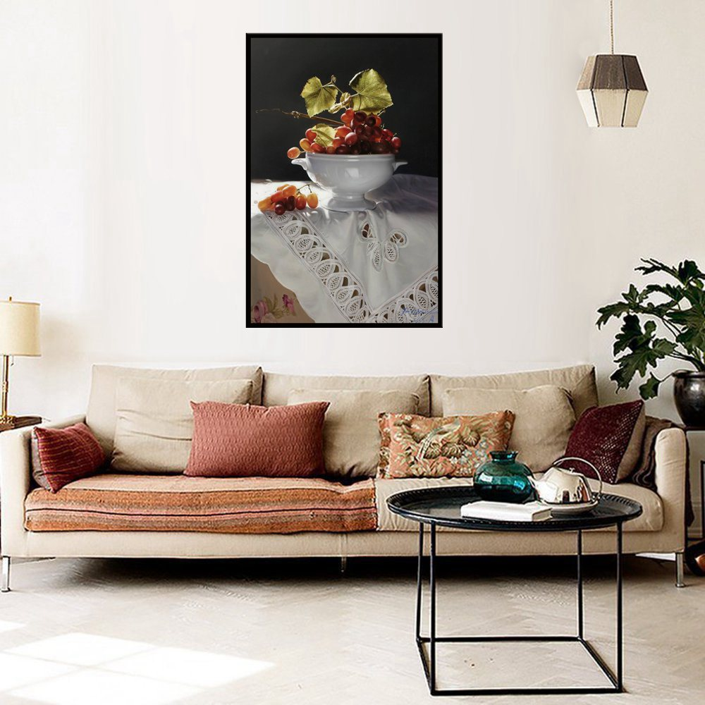 Retro Home Artwork Grapes Still Life Oil Painting Print Canvas for Living Room Wall Fruits Hang on the Sofa Decorative