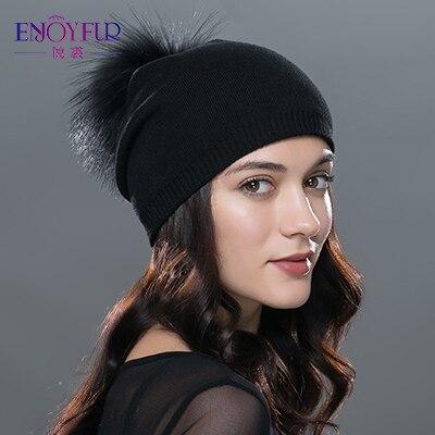 ENJOYFUR Winter women real fur pom pom hats wool knitted thick warm lined beanies hat lady fashion bobble ski caps