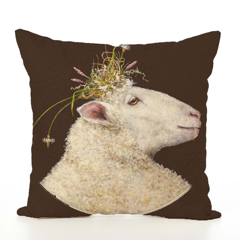 1 Piece 45cmx45cm Art Sheep Cushion Cover Anime Animal Pillow Case Cover For Sofa Office Home Decorative XF374-8
