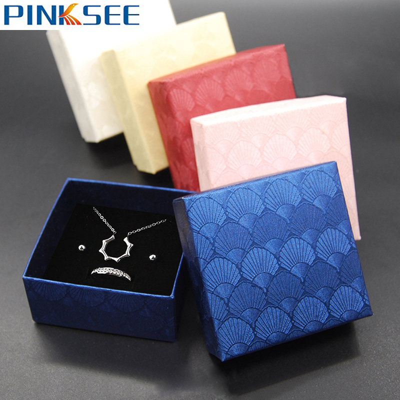 High Quality Jewelry Storage Paper Box 5 Colors Ring Earrings Necklace Packaging Present Gift Box For Jewelry 7.5*7.5*3.5cm