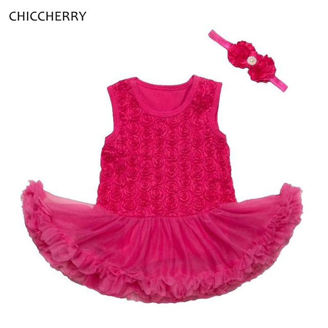3d rose girls valentines day outfit kids lace tutu baby girl dress headband newborn infant clothing