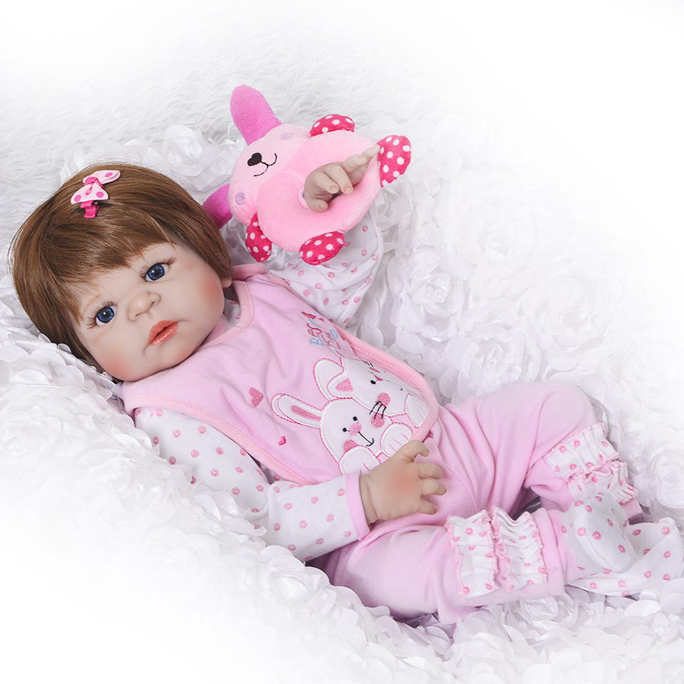Lebensechte Silikon Reborn Baby Menina Lebendig 23 ''Neugeborenen Baby Puppen Volle Vinyl körper Tragen bebe Infant Kleidung Wirklich Kinder spielkameraden