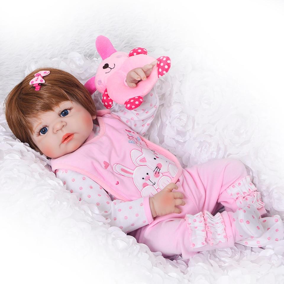 Lebensechten Silikon Reborn Baby Menina Lebendig 23 ''Neugeborenen Baby Dolls Volle Vinyl körper Tragen bebe Infant Kleidung Wirklich Kinder spielkameraden