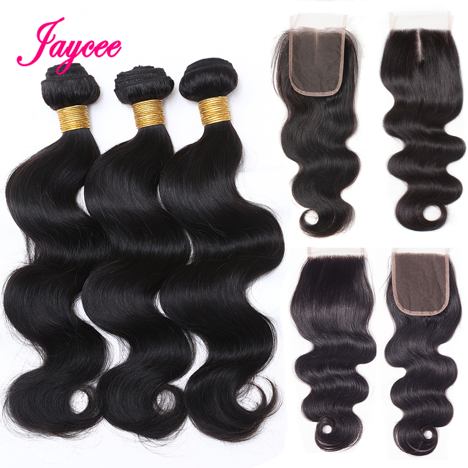Jaycee 3 Bundles Body Wave Human Hair Bundles With Closure Brazilian Hair Weave Bundles With Closure Free Part 4Pcs Non-Remy