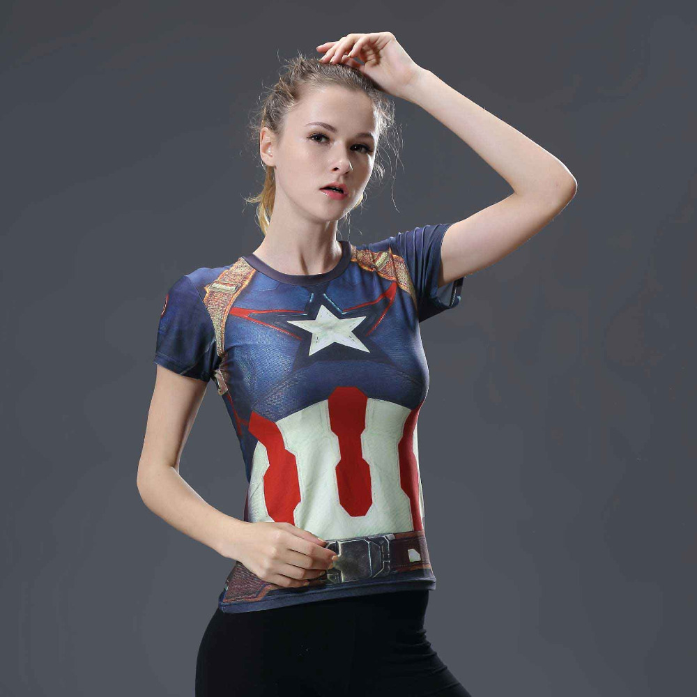Sommer Frauen Compression T Shirt Marvel Captain America Schnelle Trockene Übung T-shirt Tops Kurzarm Camisetas Mujer dropshipping