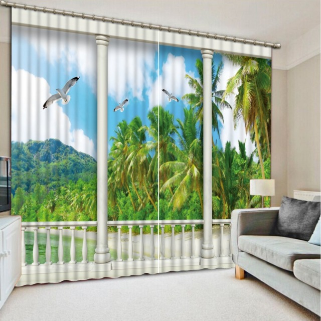 New Style Curtains For Living Room Curtain Beach Window Rmarble Pillar Home Decoration