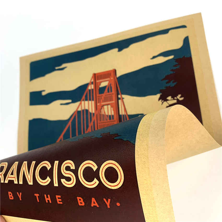 SAN FRANCISCO Vintage Reizen Schilderij Stad poster Abstract papier print picture Woonkamer Cafe Decor 42x30 cm GGB093