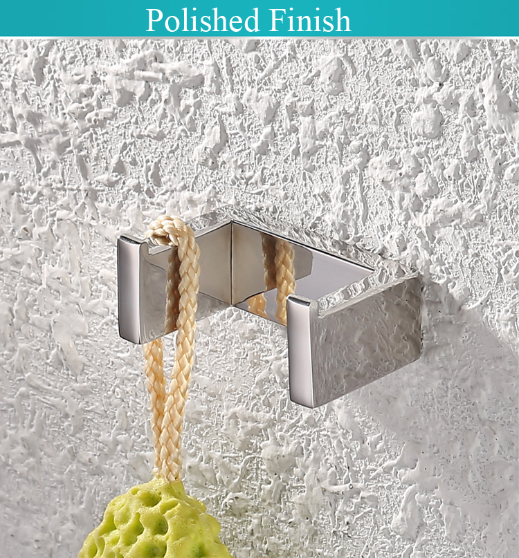 A23061-2 Brushed SUS304 Stainless Steel KES Bathroom Double Coat and Robe Hook Wall Mount