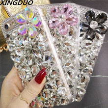 XINGDUO Bling Rhinestone Crystal Diamond petal Soft Case Cover for iphone X XS XR MAX 5S 6 7 8 Plus Luxury Mobile phone shell