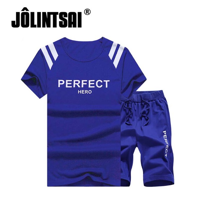 Jolintsai Brand Summer Men Clothing Set Plus Size M-5XL 2017 Men T-shirt+Shorts 2 Pieces Set Letter Striped Tracksuit