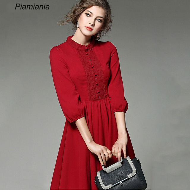 Women Summer Elegant Robes Button Lantern Sleeves Lace Slim Pleated Plus  Size Long Dress Party Work Dress Office Lady Vestidos eef42ad4f3ab