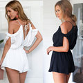 Fora Do Ombro Da Camisa t 2017 Mulheres Verão Jumpsuit Backless Mangas Lace Up Branco Camis Sólidos Bodysuits Playsuits Femininos Marca