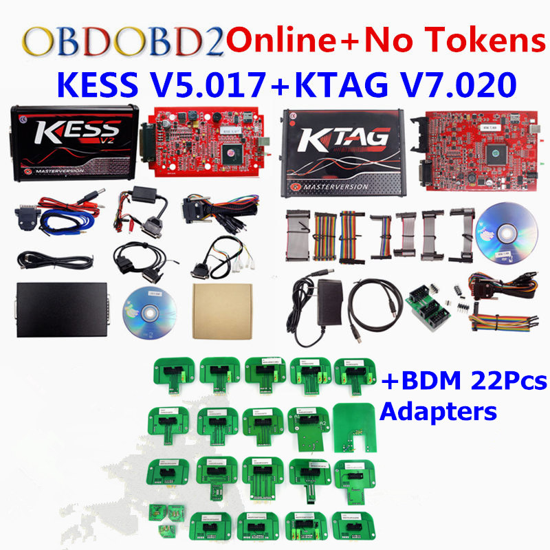 2018 KESS V2 Master V5.017 Red PCB OBD2 Manager Tuning Kit Unlimited Tokens KESS 5.017 2.47 Ktag V7.020 BDM Probe 22Pcs Adapters
