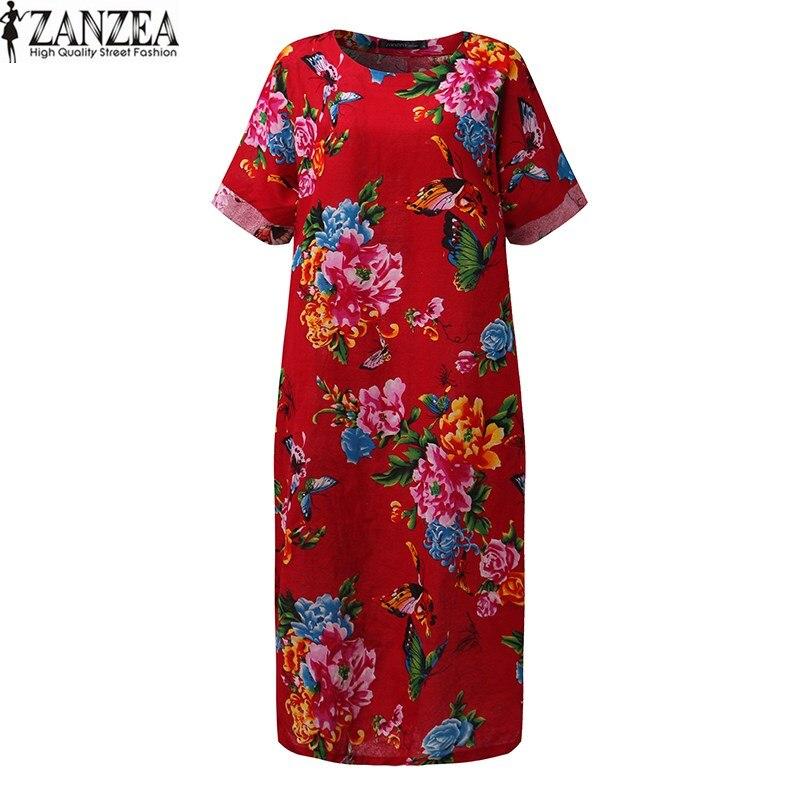 ZANZEA Women Plus Size Round Neck Shirt Dress Batwing Vintage Retro Floral Print Evening Party Long Maxi Dress Vestido Kaftan