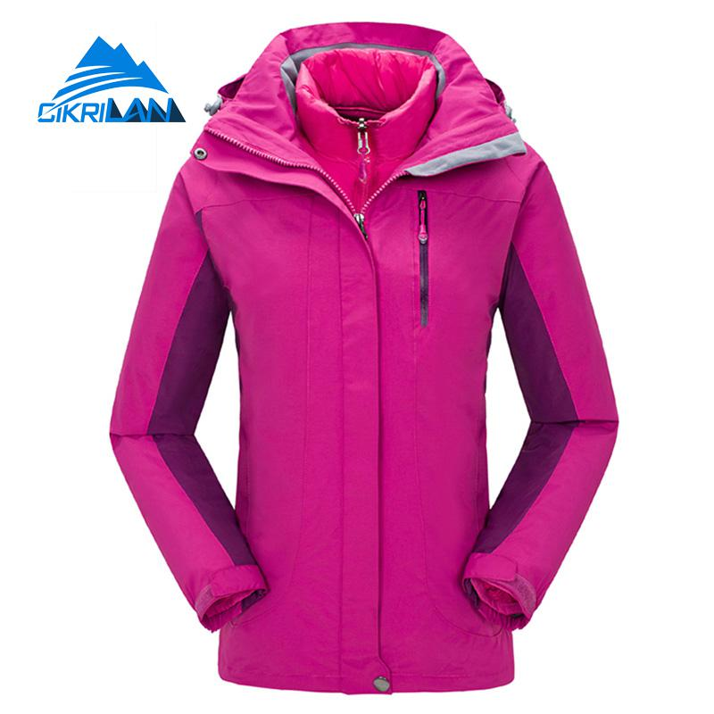Winter Outdoor Jacket Women Windbreaker Waterproof Coat Sport Camping Hiking Ski Jackets Fishing Warm Cotton Padded Liner Coats 3 in 1 outdoor jacket windproof waterproof coat women sport jackets hiking camping winter thermal fleece jacket ski clothing