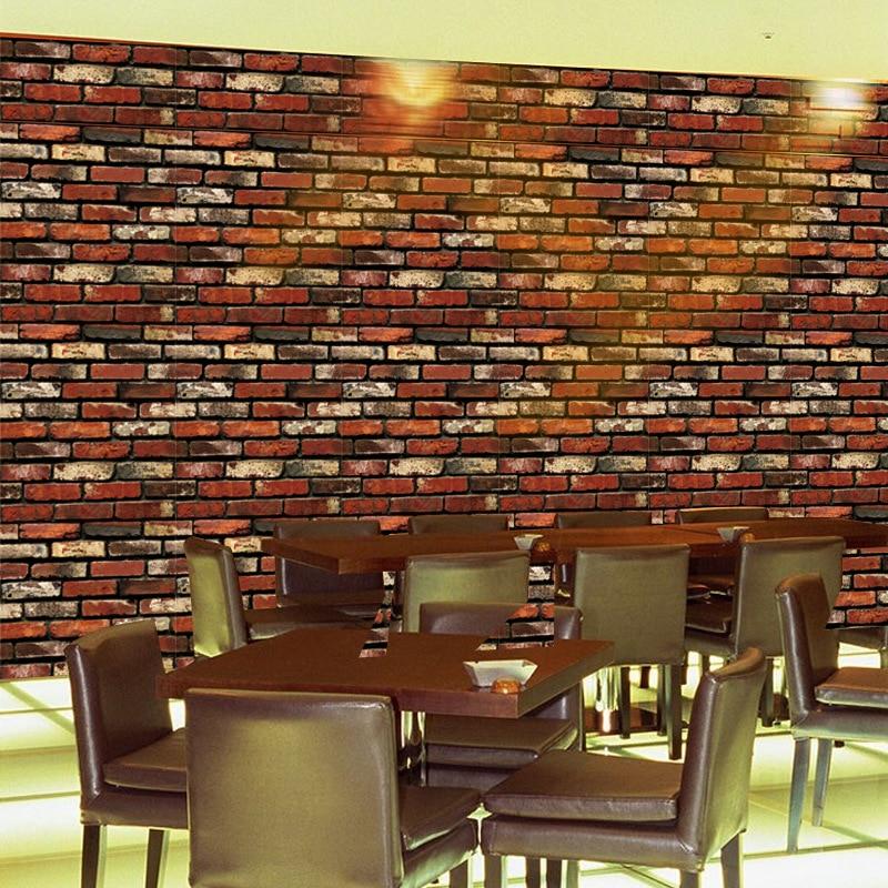 3D verwijderbare natuurlijke bakstenen muurstickers zelfklevende - Huisdecoratie