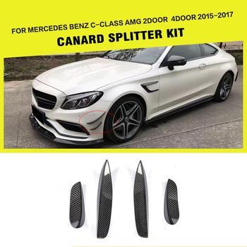 Carbon Fibre / FRP Black Racing Front Bumper Wing Splitters Lip for Mercedes Benz C-Class W205 C205 C63 AMG 2015 - 2017