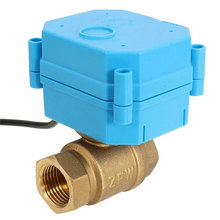 "MTGATHER Best Price DN20 G3/4"" DC12V 3-wire Control Brass Motorized Ball Valve Electrical Ball Valve Blue+Bras Durable Quality"