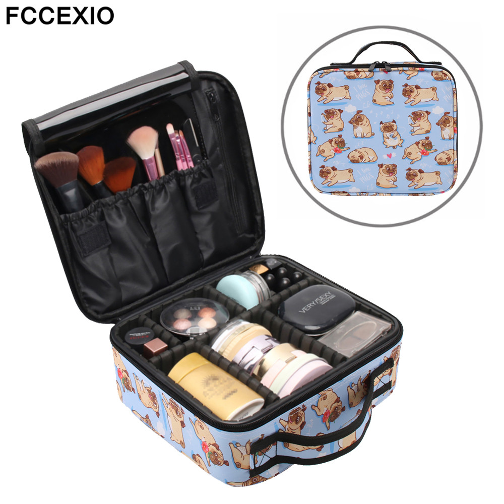 FCCEXIO New Cosmetic Bags Cute Pug Print Makeup Bags Travel Organizer Beauty Case Toiletry Bag Bath Wash Adjustable Makeup Box