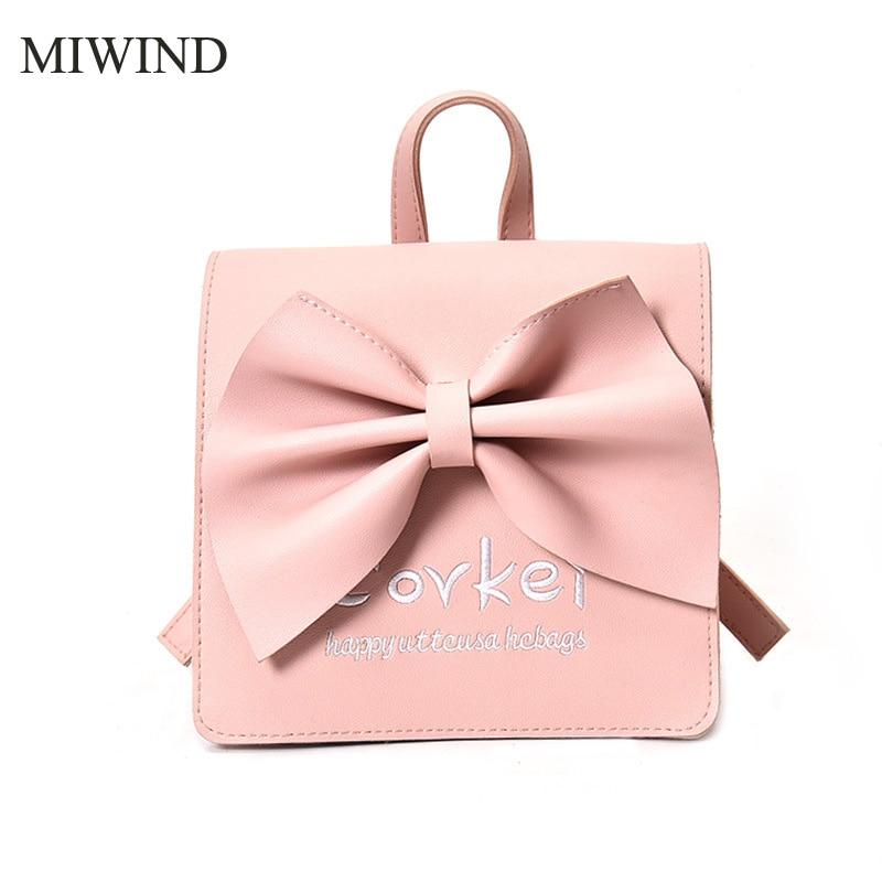 MIWIND Women Backpack PU Leather Backpacks Softback Bags Brand Name Bag Cute Big Bowknot Backpacks