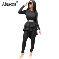 Abasona Women 2 Piece Sets Black Jumpsuit Long Sleeve Asymmetrical Ruffle Top Romper Women Sexy Club Jumpsuit Without Sashes