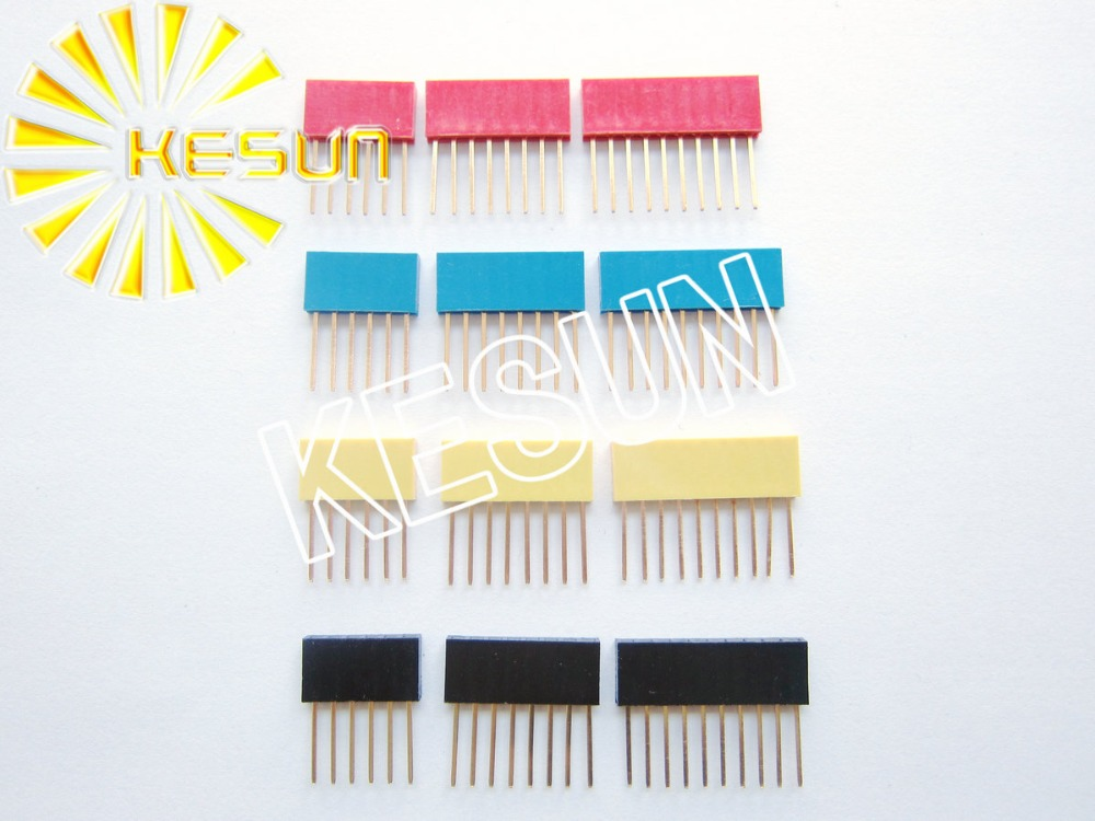 FREE SHIPPING 120PCS/lot 2.54MM 6P + 8P + 10P Red Green Yellow Black 11MM Long Needle Female Pin Header Strip Stackable Header