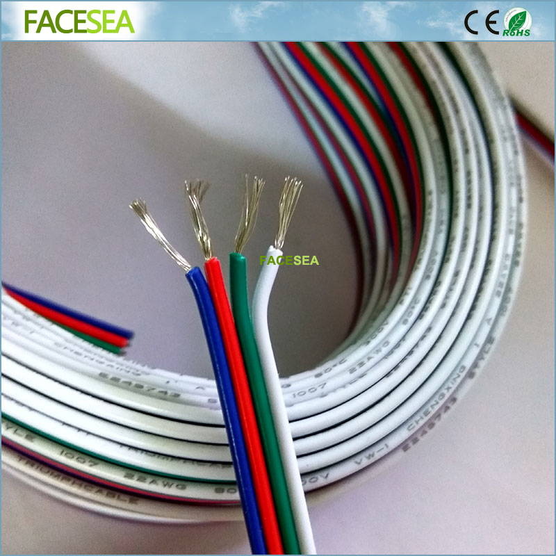 20m/50M 4Pin Extension wire, 22 awg wire, RGB+White Wire Connector Cable 4 color For DC12V 3528 5050 RGB LED Strip light 1pcs rgb connector 4pin 1 to 2 3 4 cable rgb led flexible strip female connector for smd 3528 5050 rgb strip light