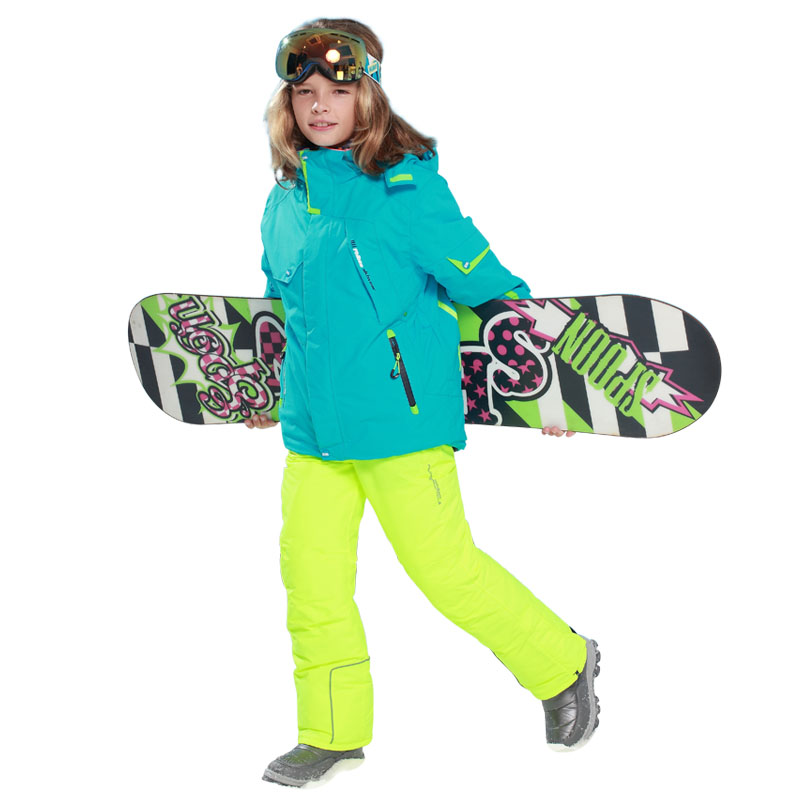 2018 Boys Girls Snow Kids Ski Jacket + pants 2pcs Sport Suit for Boys Children Outdoor Sets Hooded Windproof Waterproof Sets honeyking 2pcs child waterproof boys girls clothing sets double layer boys girls jackets rain pants kids hooded raincoat suit