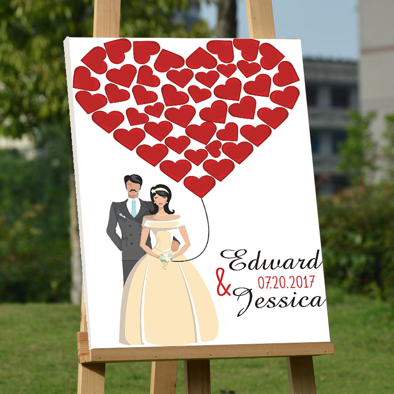 Personalized Wedding Guest Book Frame,Canvas Red Hearts Guestbook for Sign ,Custom Bride & Groom Guestbook,mariage Decoration