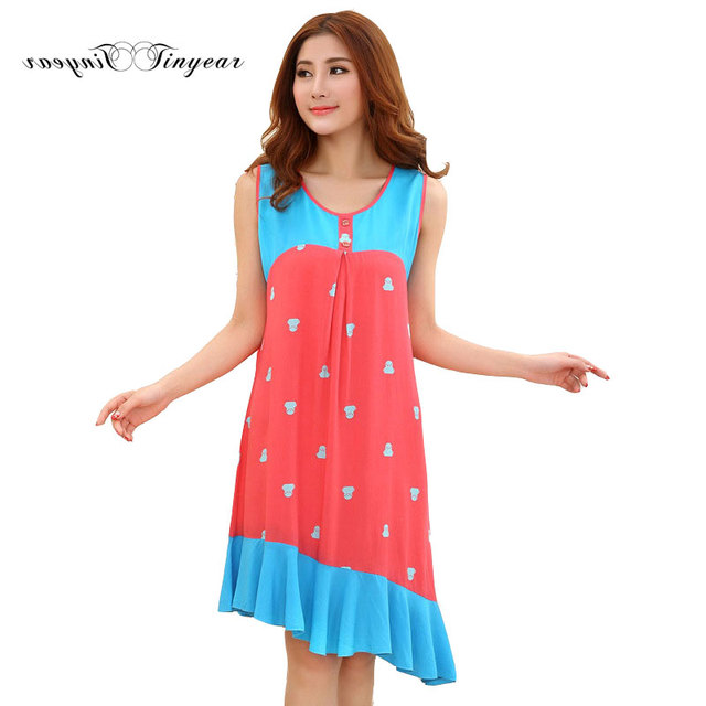 3e42d793ee 2016 Cheap price women nightdress sleeveless polka dot round neck plus size  nightgowns summer robe de chambre femmes nuit