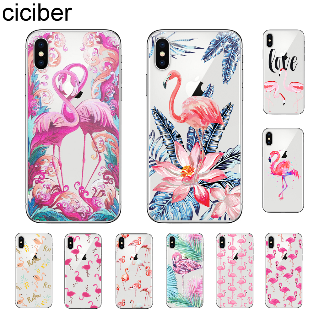 ciciber Cute Animal Flamingo Phone Case For Apple iPhone 7 8 6 6s Plus X XR XS MAX 5 5S SE Soft Silicone TPU Cover Coque Fundas in Fitted Cases from Cellphones Telecommunications
