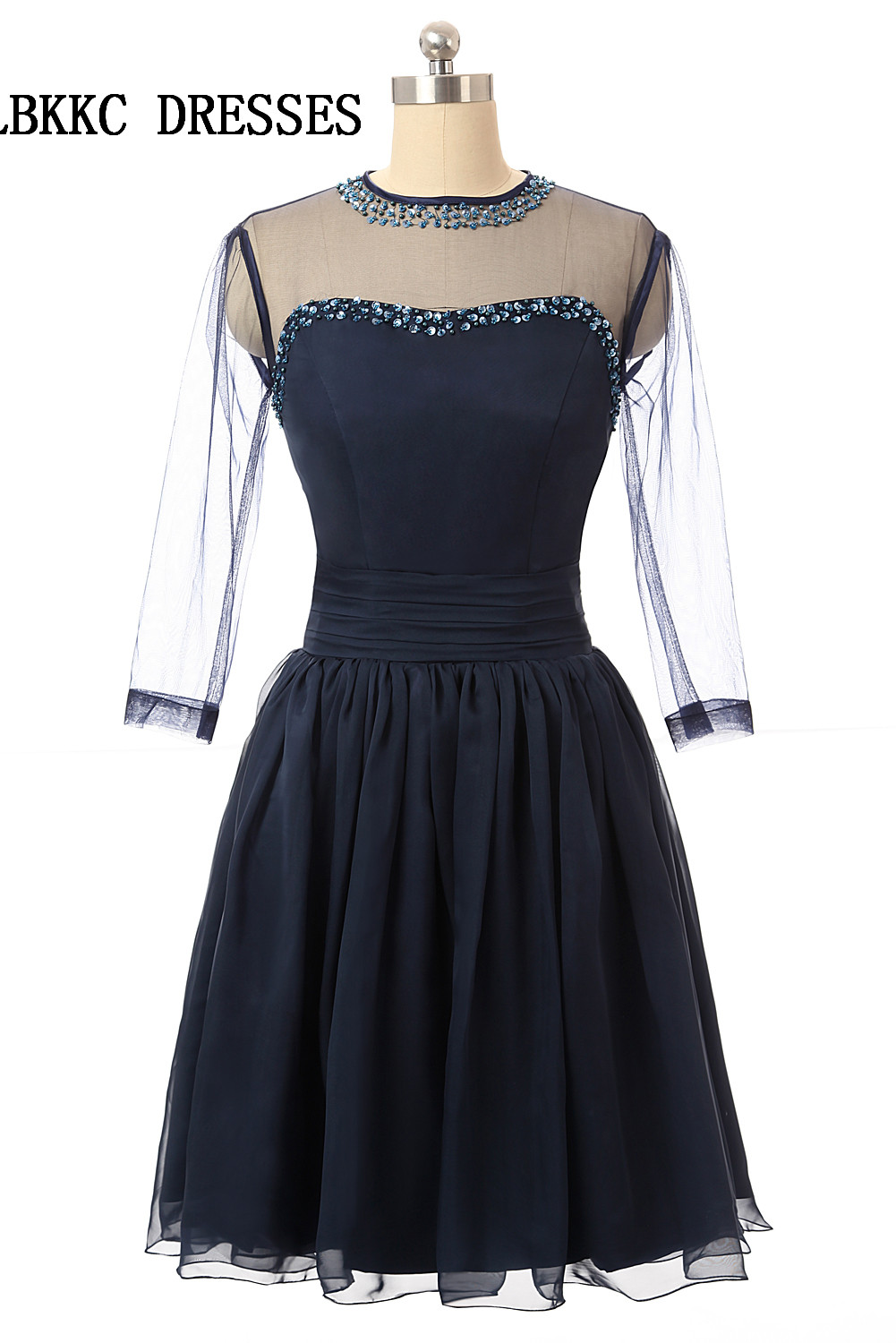 Navy Blue Cocktail Dresses Knee Length Tulle With Beaded Short Prom Gown Vestido Cocktail