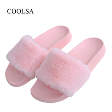 COOLSA New Arrival Women's Furry Slippers Faux Fur Slippers Non-slip Plush Fashion Slippers Fluffy Flock Indoor Flat Flip Flops недорого