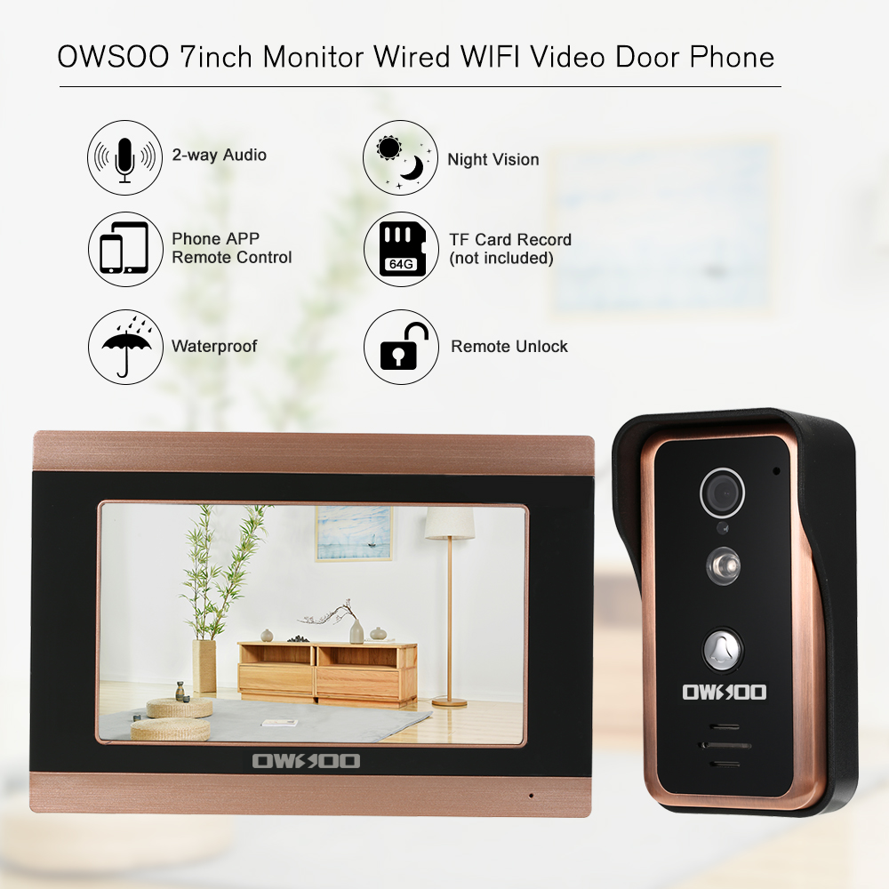 OWSOO 7inch Monitor Wired WIFI Video Door Phone Doorbell Intercom Entry System Support Night Vision Phone APP Remote Intercom(China)