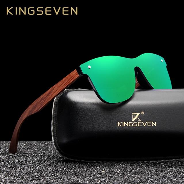 KINGSEVEN טבעי עץ משקפי שמש גברים מקוטב אופנה שמש משקפיים מקורי עץ Oculos דה סול masculino