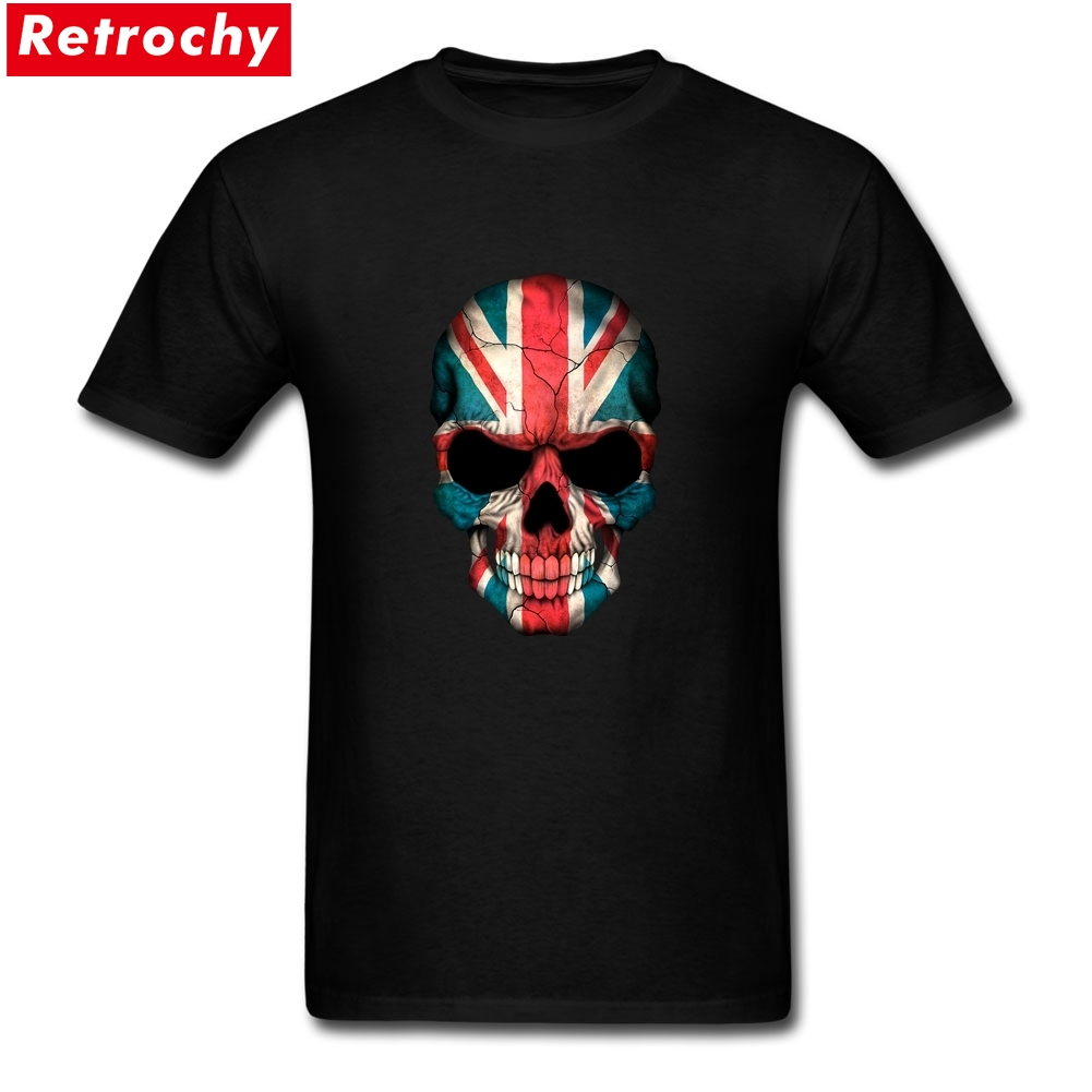 Ruin British Flag Skull Tees for Men Short Sleeve O-neck Organic Cotton Custom Screen Print Mans T Shirt Merchandise