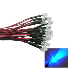 50pcs 10mm Blue LED Lamp Light Set 20cm Pre-Wired 5V Free Shipping