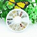 Roda Da Arte do prego Quadrado Borda Redonda de Metal Talão de Pérolas 3D dicas de Decoração de Cristal Do Telefone Polonês Manicure DIY Ferramentas Jóias Decalque ofício