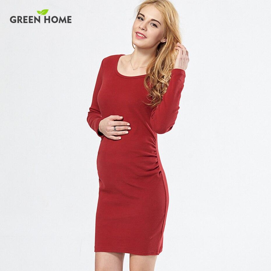 verde casero de la aptitud camiseta roja uso diario del embarazo para las mujeres embarazadas vestido