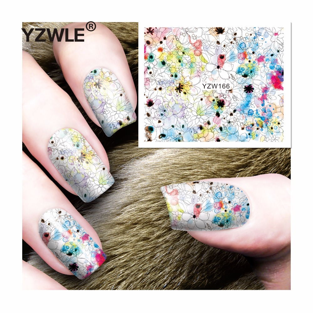 YZWLE 1 Sheet DIY Decals Nails Art Water Transfer Printing Stickers Accessories For Manicure Salon (YZW-166) yzwle 1 sheet hot gold 3d nail art stickers diy nail decorations decals foils wraps manicure styling tools yzw 6015