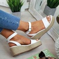 MoneRffi/Летняя обувь; женские босоножки на ремешке; женские босоножки на платформе; обувь на танкетке; повседневные женские эспадрильи с откры...