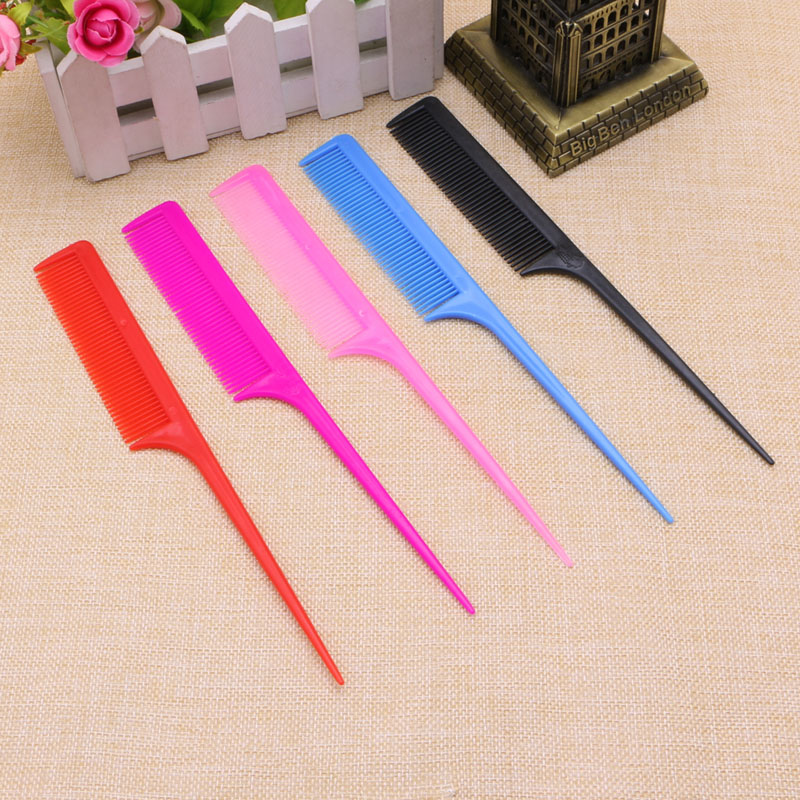 New Professional Salon Coloful Cutting Comb Plastic Hairdressing With Sharp Tails