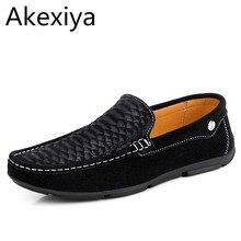 Akexiya Homme Mocasín Mocasines Resbalón En Los Zapatos Planos Ocasionales de Los Hombres Zapatos de Marca De Zapatos De Gamuza Slipony Pisos Mocasines Los Hombres Zapatos de Conducción