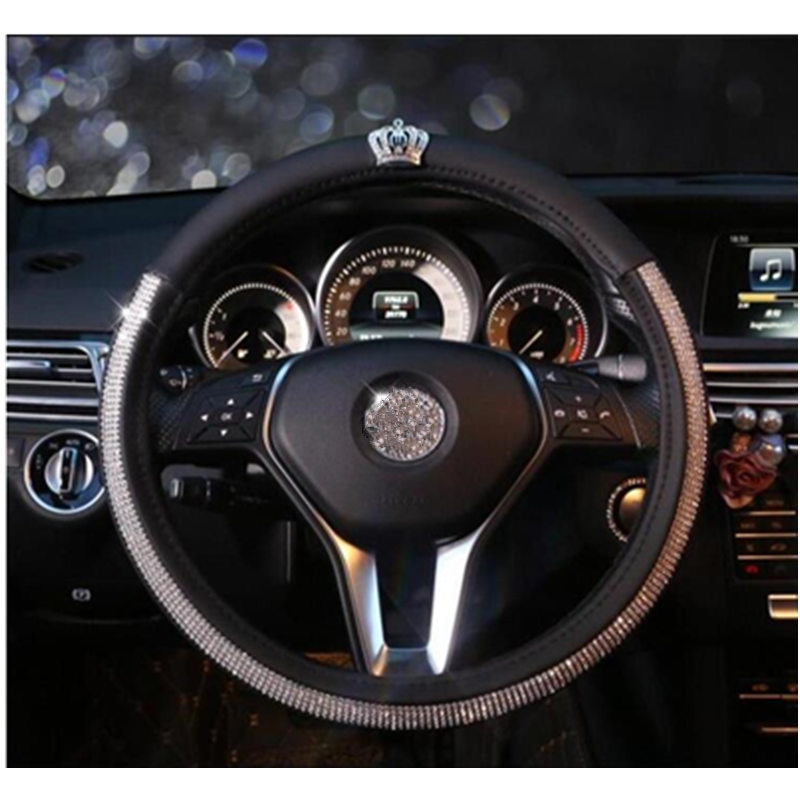 DONYUMMYJO Black Leather Crown Series Crystal Rhinestone covered Steering-Wheel Covers Car Steering Wheel Cover For Women Girls