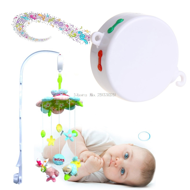 Rotary Baby Mobile Crib Bed Toy 12/35 Songs Music Box Movement Bell Nursery Hot -B116 rotary baby mobile crib bed toy melodies song kids mobile windup bell electric autorotation music box baby educational toys