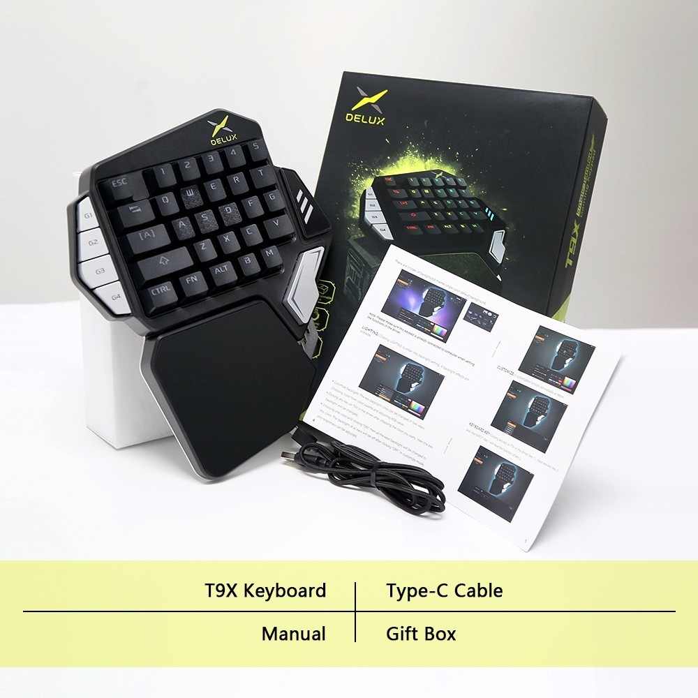 Delux T9X Single-handed Mechanical Gaming keyboards fully programmable USB wired keypad with RGB backlight for PUBG LOL E-Sports