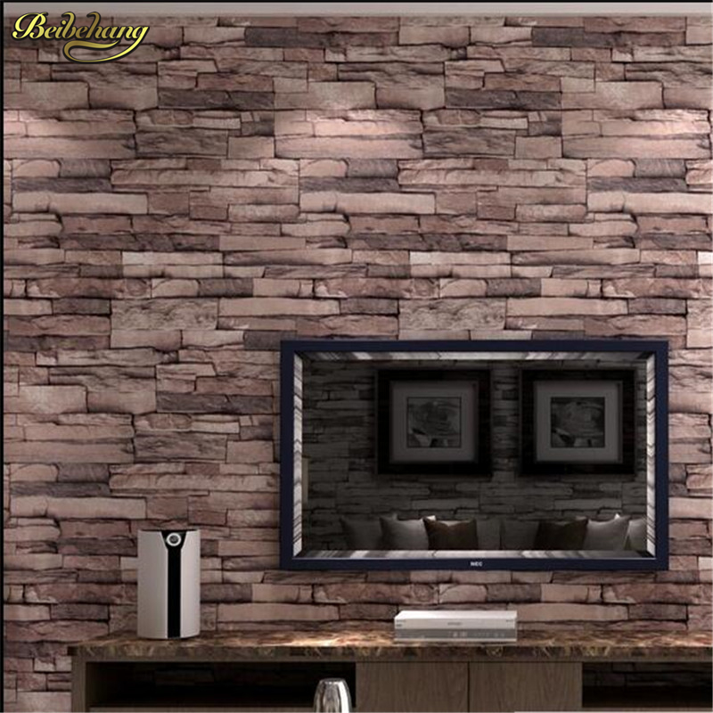 Beibehang wood blocks effect brown stone brick 10m vinyl - Wood effect wallpaper living room ...