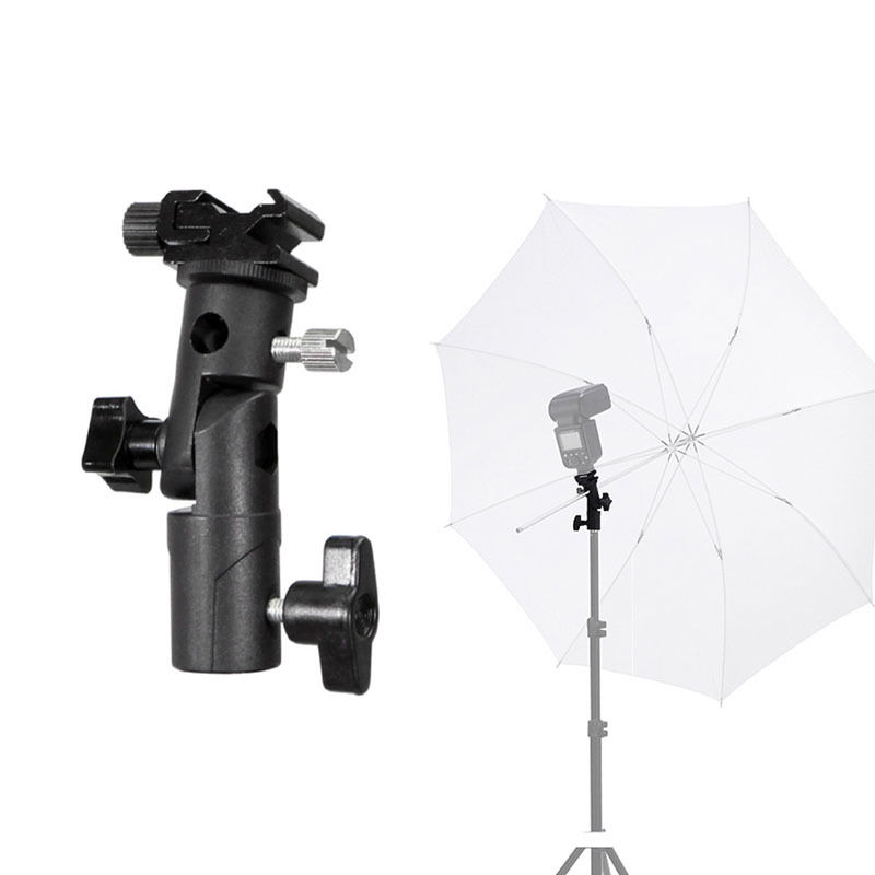 E Type Universal Metal Flash Hot Shoe Speedlite Umbrella Holder Light Stand