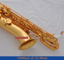 Support Professional Gold Baritone Saxophone Sax High F# W/Leather Case-Abalone Buttons