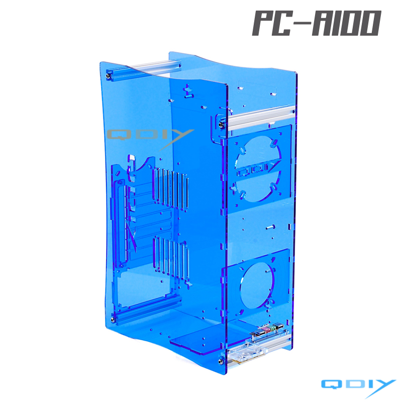 QDIY PC-A100 Acrylic Transparent PC Computer Case PMMA Micro ATX Computer Cases qdiy fz tm80c personalized computer case 80mm matte transparent colored lamp cooling fan
